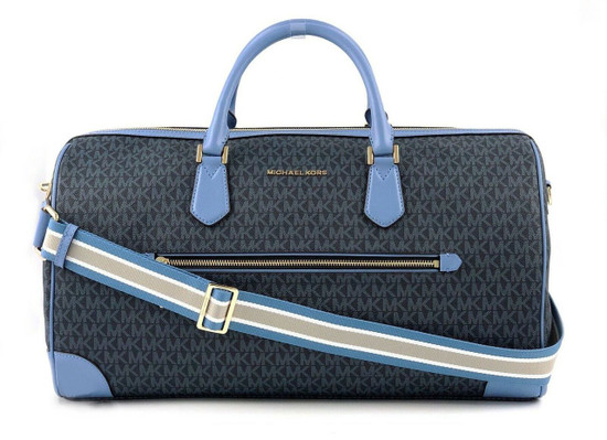 Michael Kors Large Signature PVC Travel Duffle Carry On Hand Bag French Blue