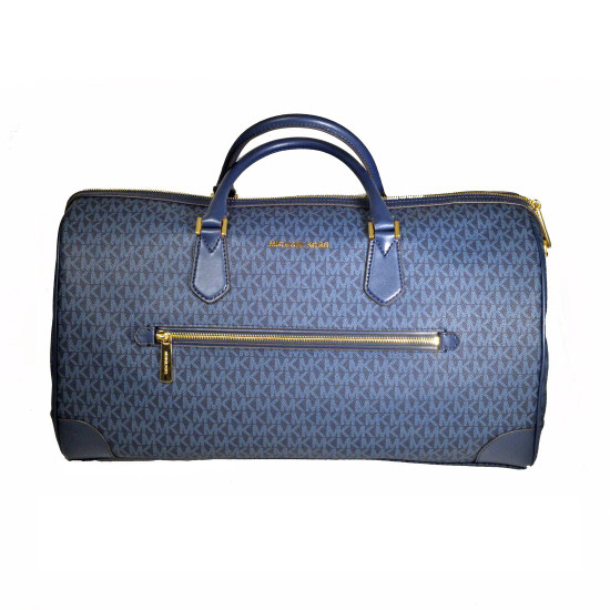 Michael Kors Large Signature PVC Travel Duffle Carry On Hand Bag Navy Blue