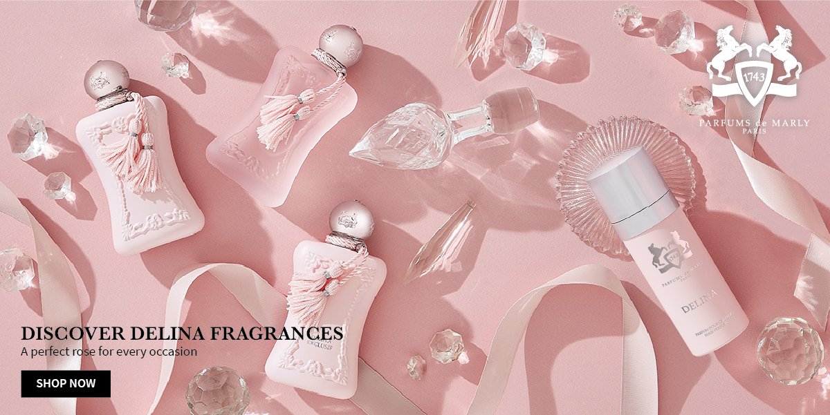 Parfums de Marly Delina Range with crystal spread - pink - City PErfume Home Banner