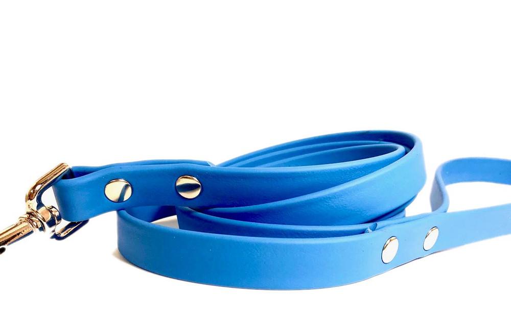 Sky Blue Vegan Leather Leash