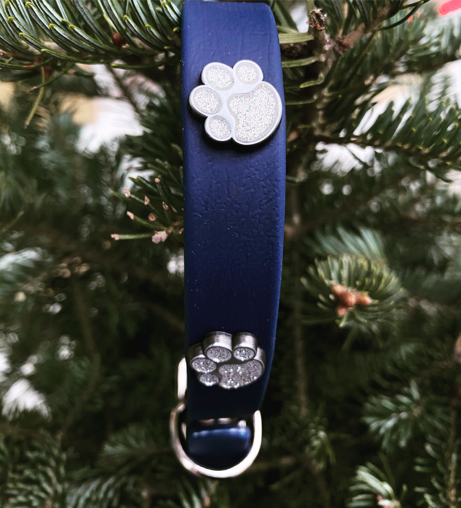 Navy Blue Vegan Leather collar with Sparkle paw prints