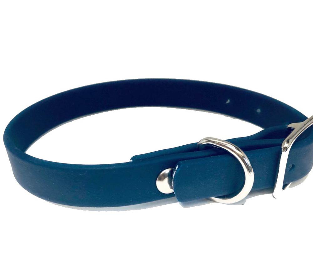 Navy blue dog collar in vegan leather