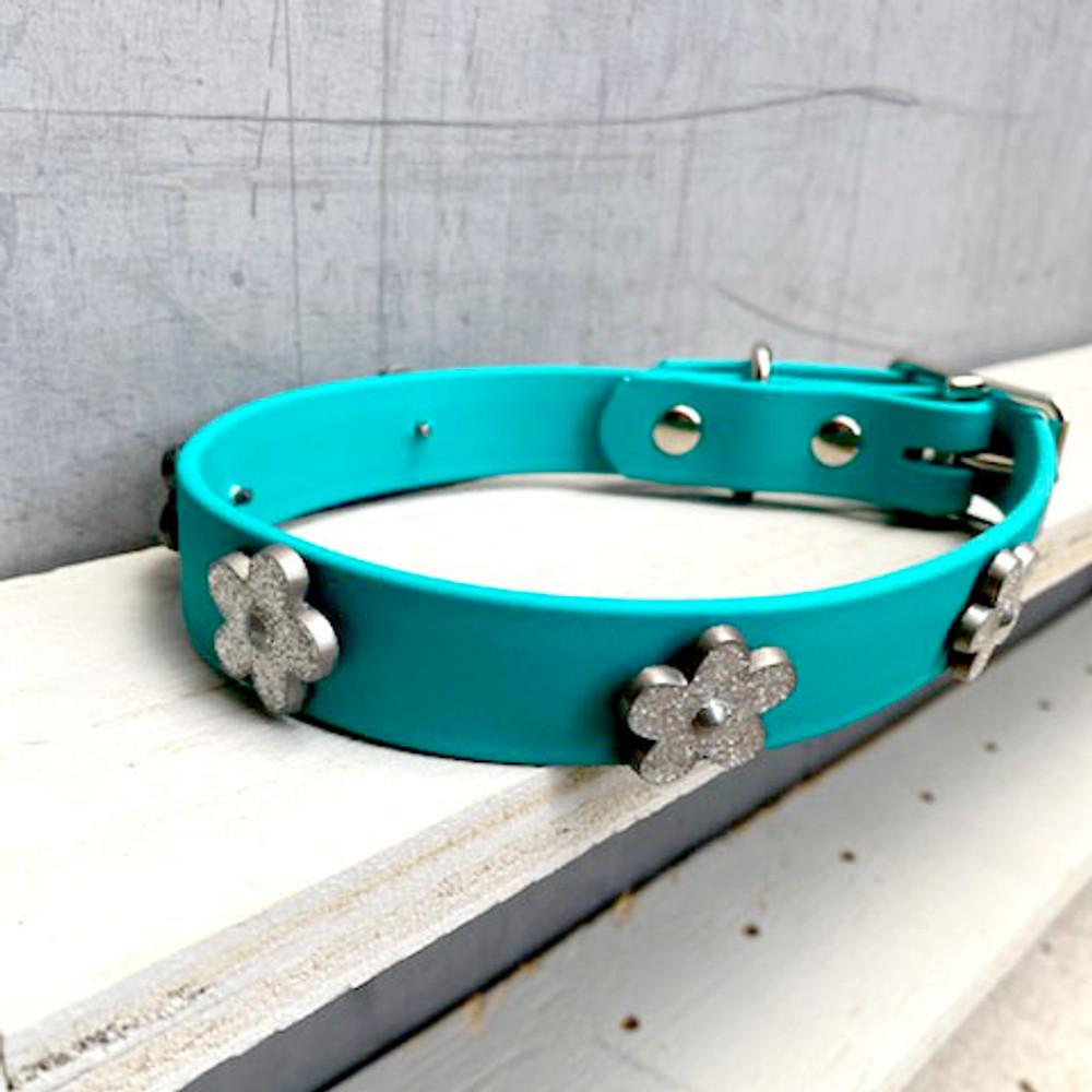 Teal Vegan Leather Collar