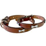 Mocha Leather Collar With Silver Bone