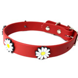 Red Vegan Leather Collar With White Daisy