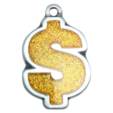 Gold Glitter Dollar Sign ID Tag- Free Shipping