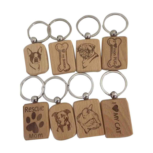 Breed Specific Wood Keychain