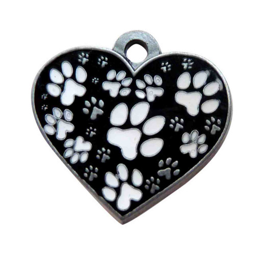 Black and White Heart ID Tag - Free Shipping
