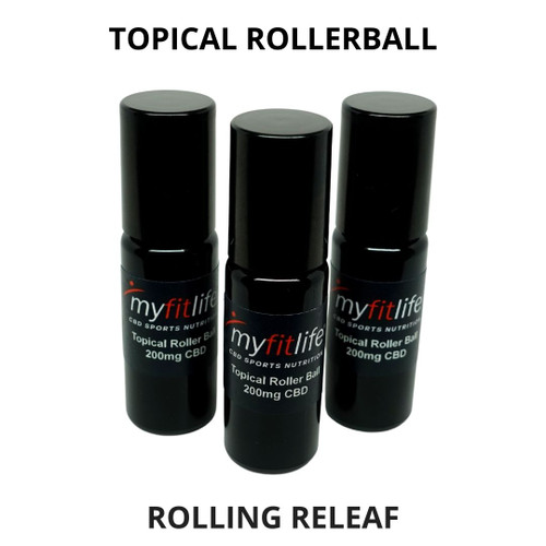 Rolling Releaf Topical Rollerball with 200mg of Full Spectrum CBD and Essential Oil Muscle Blend.