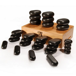 SPA Hot Stone 28 Piece Set 100% Basalt Rocks for Body Massage