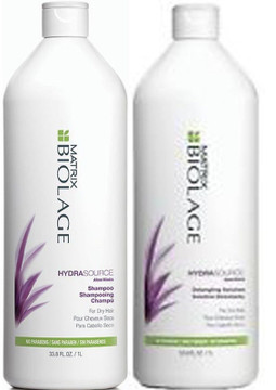 Matrix Biolage Hydrasource Shampoo and Detangling Solution Conditioner Duo Pack - 1L