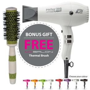 Parlux 385 Power Light Ceramic and Ionic Hair Dryer - White With Bonus Thermal Brush