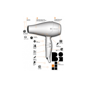 Ceriotti Bi Professional Hair Dryer Made in Italy Orange Bonus Thermal Brush