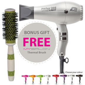 Parlux 385 Power Light Ceramic and Ionic Hair Dryer - Silver With Bonus Thermal Brush