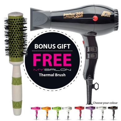Parlux 385 Power Light Ceramic and Ionic Hair Dryer - Black With Bonus Thermal Brush