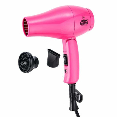 NEW Speedy Travel Ceramic Professional Hair Dryer 1000W with Diffuser & Nozzle - Pink