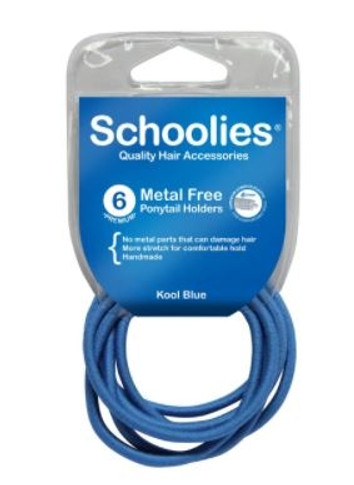 Schoolies Metal Free Ponytail Holders 6 Pack - Assorted Colours