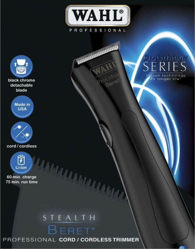Wahl Stealth Beret Pro Lithium Cord/Cordless Black Trimmer