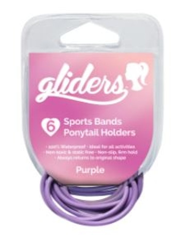 Gliders Sports Bands Ponytail Holders 6 Pack - Assorted Colours