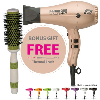 Parlux 385 Power Light Ceramic and Ionic Hair Dryer - Rose Gold With Bonus Thermal Brush