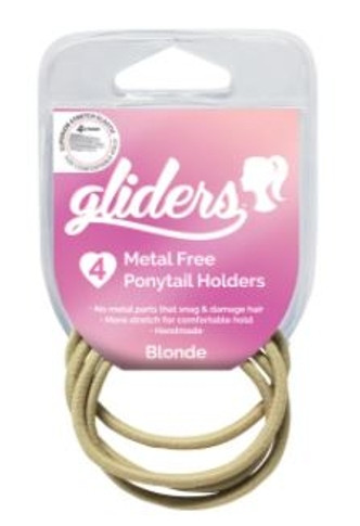 Gliders Metal Free Ponytail Holders 4 Pack - Assorted Colours