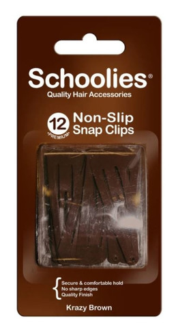 Schoolies Non-Slip Snap Clips 12 Pack - Assorted Colours