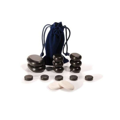 SPA Hot Stone 16 Piece Set Basalt Rocks For Head And Facial Massage