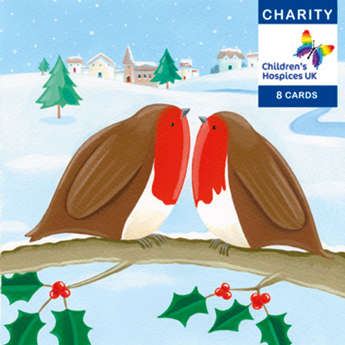 CC90011CH - Robins (1 pack of 8 charity Christmas cards)-