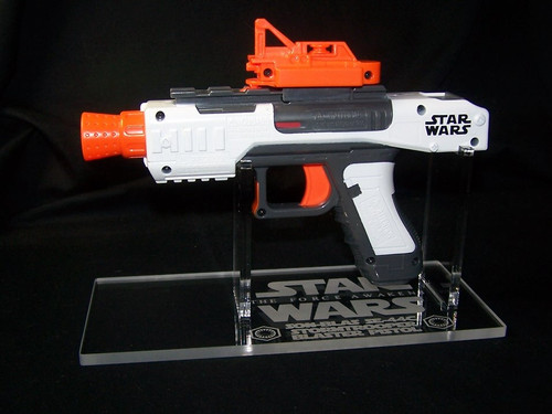 acrylic display stand for Nerf Star Wars Force Awakens Stormtrooper Blaster pistol.