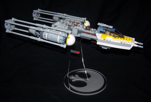 acrylic display stand for Lego Y-wing fighter Star Wars