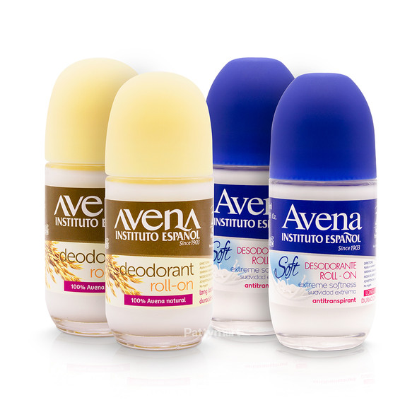 Set 2 Desodorante avena Roll on + 2 Desodorante avena - leche Roll on