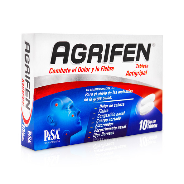 Agrifen Relieves pain and fever / Agrifen Antigripal  x 10 Tabletas