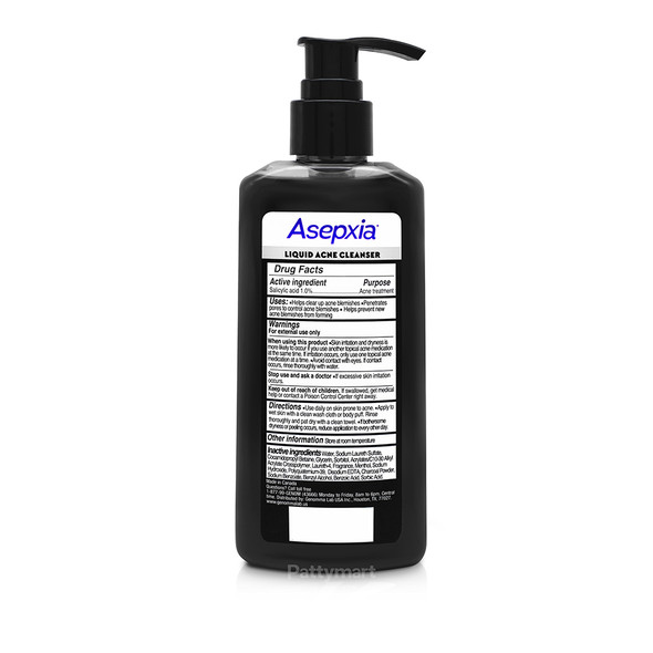 Asepxia Liquid Acne Cleanser Actived Charcoal 7.6 Fo