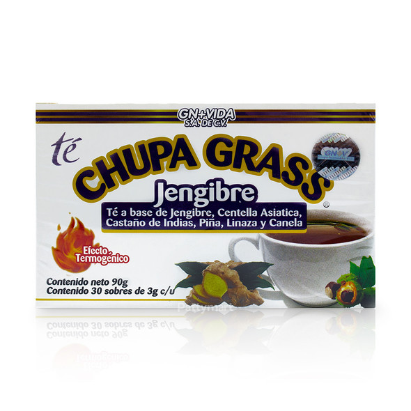 Tea Chupa Grass x 30 sobres Te a base de Jengibre, Castano Indias, Piña, Linaza y Canela