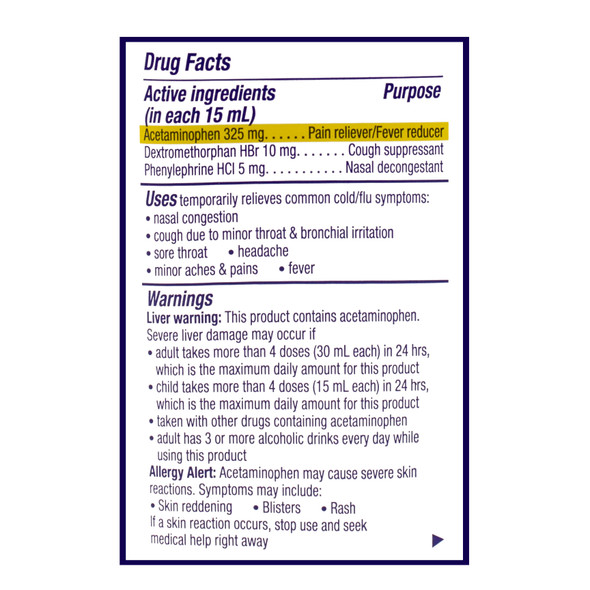 Dayquil Cold & Flu Multi-Symptom relief 8 oz_Facts