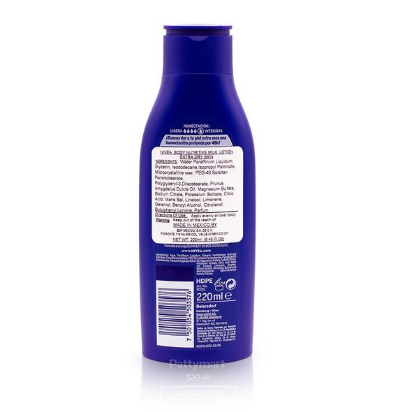Nivea Milk Nutritive Cream / Crema Piel Extra Seca 220 ml_Back