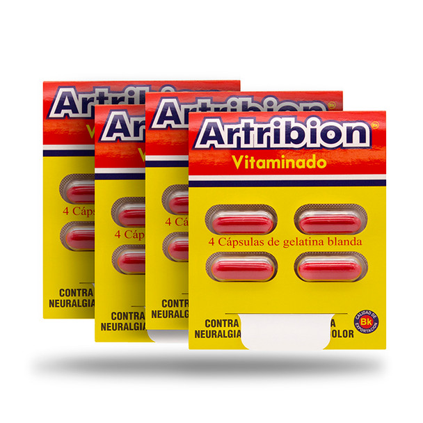 4 pack of artribion vitaminado sobre x 4 caps