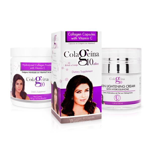 Set Colageina 10 Polvo 100gr + Capsulas x 60caps + Skin Lightening Crema