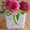Stiffened Lace Vase Holder 4 x 4 inches Square LS186-81, Wholesale Lace Baskets   Packaging Decor