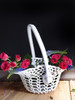 Stiffened Lace Basket with Handle LS185-83, Wholesale Lace Baskets   Packaging Decor