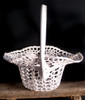 Stiffened Lace Basket with Handle LS185-83, Wholesale Lace Baskets, Wholesale Floral Baskets | Packaging Decor