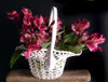 Stiffened Lace Basket with Handle LS185-83, Wholesale Lace Baskets, Wholesale Floral Baskets   Packaging Decor
