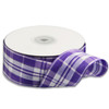 Purple & White Plaid Wired Ribbon with Metallic Accents (2 sizes)