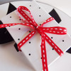 Red with White Center Stitch Grosgrain Ribbon