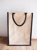 Jute Blend Tall Tote with Black Trim 13 x 18 x 8 inches, Wholesale Tote Bags