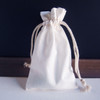 White Cotton Natural Drawstrings Bag with Ivory Stitching (10 sizes)