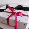Hot Pink with Black Center Stitch Grosgrain Ribbon