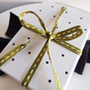 Moss with Ivory Center Stitch Grosgrain Ribbon