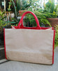 Jute Cotton Blend Tote with Red Cotton & Burlap Accents