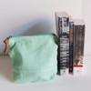 Wholesale Zippered Pouches, Cotton Zipper Pouch Supplier, Natural Cotton Mint Green Zippered Pouch  | Packaging Decor